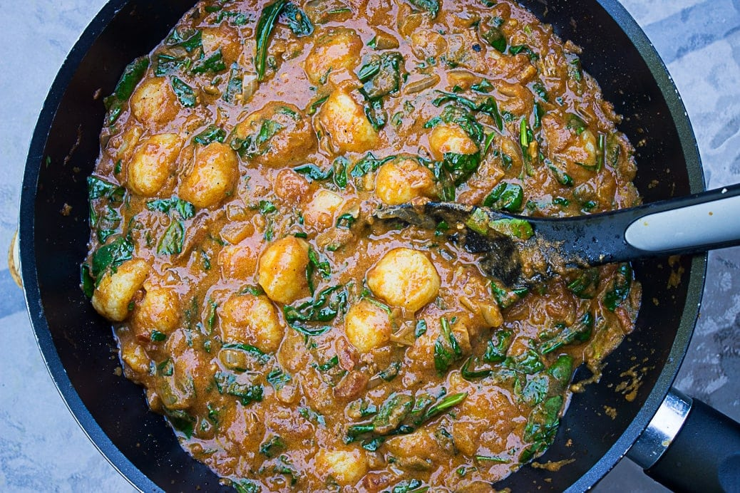 Indian Butter Gnocchi with Spinach