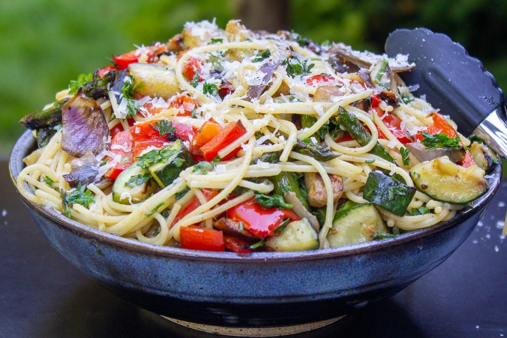 vegetable pasta with wine sauce in bowl