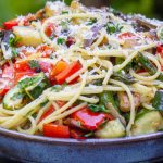 vegetable pasta with wine sauce in bowl p