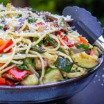 vegetable pasta with wine sauce in bowl p1