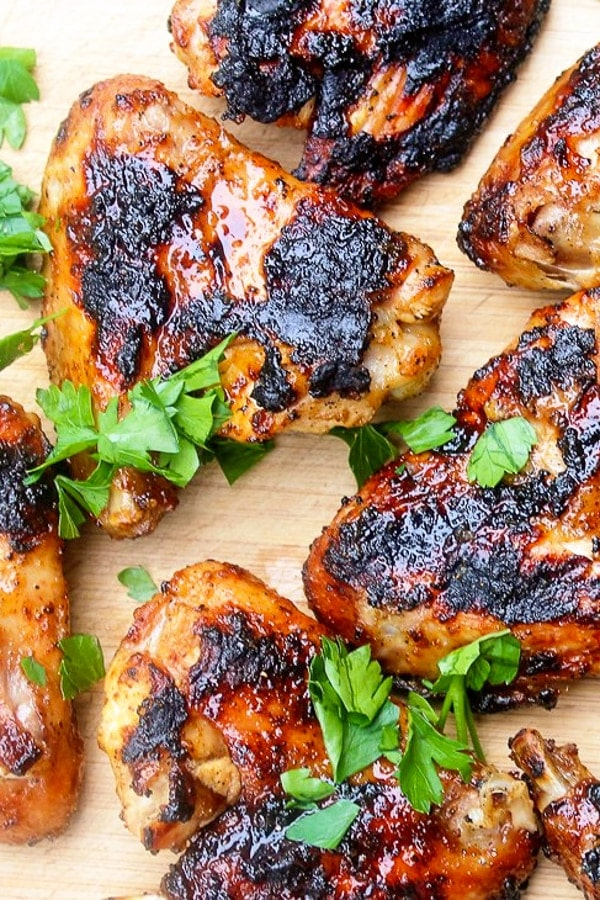 Grilled Chili Lime Chicken Wings on cutting board p3