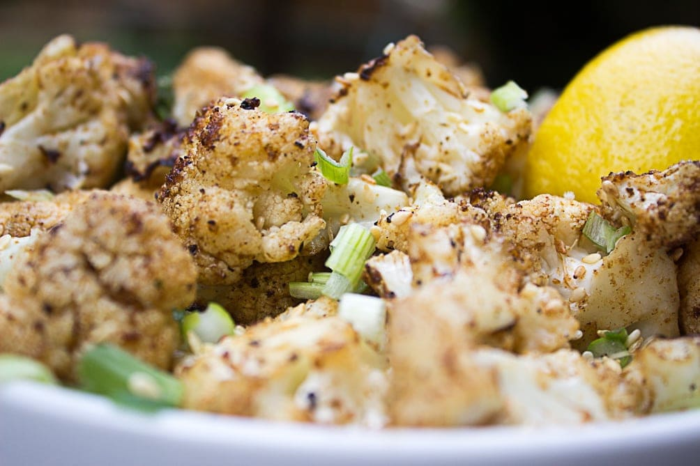 Grilled Cauliflower in bowl close up