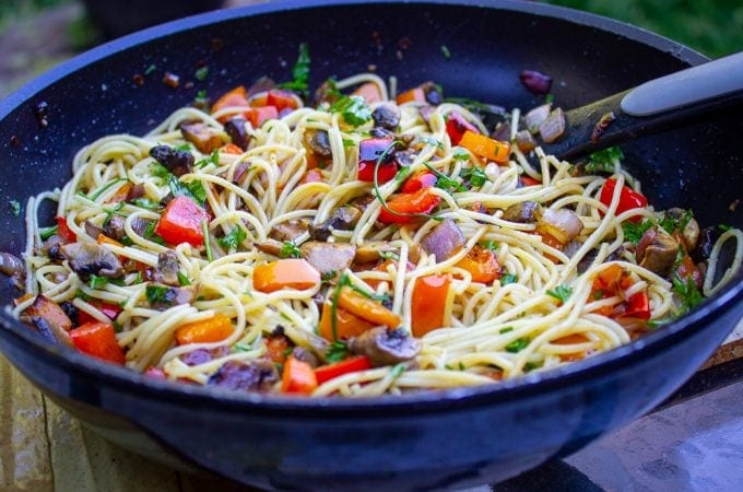 Vegetable Pasta with Wine Sauce in pan f