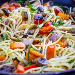 vegetable pasta with wine sauce in pan p2