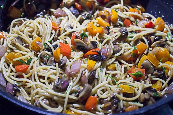 Grilled Vegetable Pasta with Wine Sauce