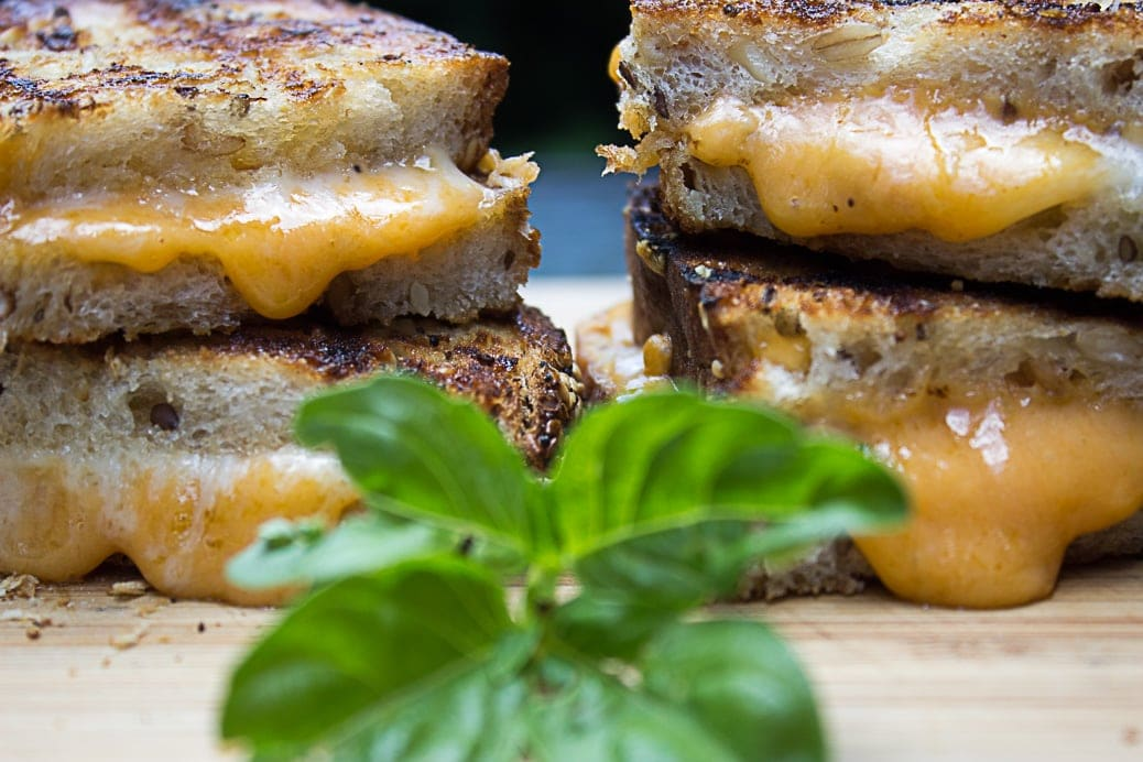 Grilled Grilled Cheese. Butter and crispy on the outside. Oozy and gooey on the inside.
