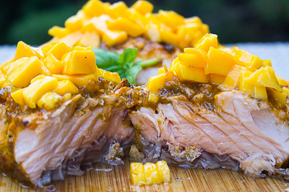 Tomato Basil Grilled Salmon with Mango