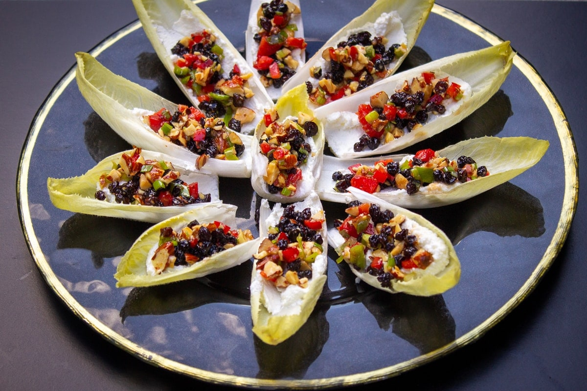 endive appetizers on plate