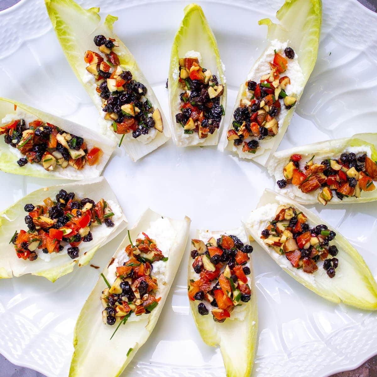 endive appetizers on plate 1