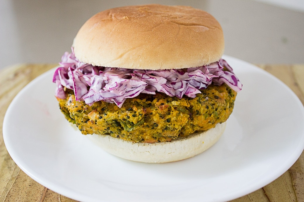 Broccoli Cheddar Veggi Burger baked to perfection. Make ahead and freeze.