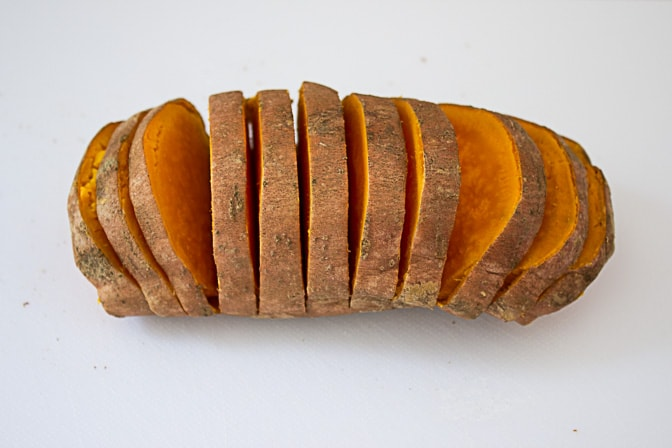 Grilled Hasselback Sweet Potatoes