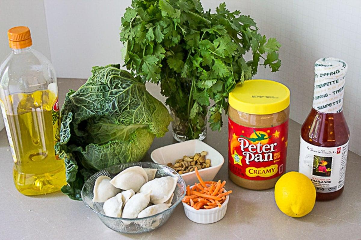 dumplings, lettuce, cilantro, peanut butter, nuts, lemon, carrots, sweet chili sauce
