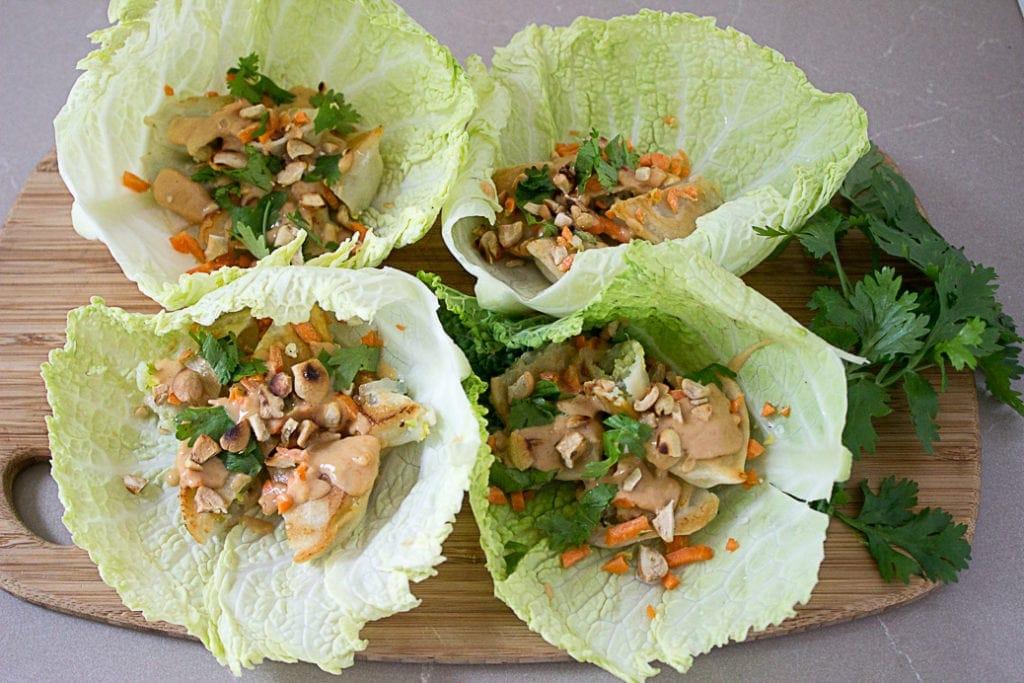 Dumpling Lettuce Wraps with Peanut Sauce