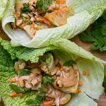 several Lettuce Wraps with Dumplings and peanut sauce p2