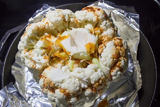Whole Roasted Cauliflower with Fresh Grape Relish