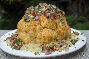 Whole Roasted Cauliflower with Fresh Grape Relish
