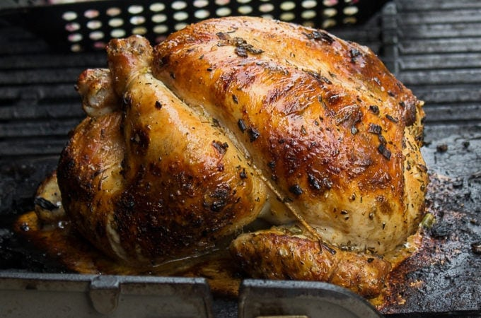 Cedar Planked Grilled Whole Chicken