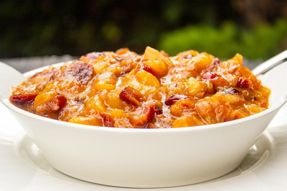 peach chutney in bowl