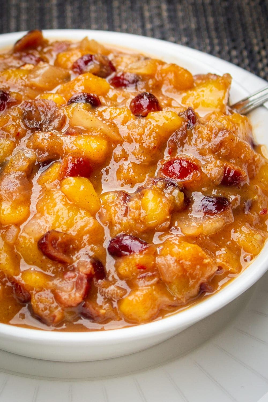 peach chutney in bowl p