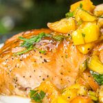maple salmon fillet with peach salsa on plate p