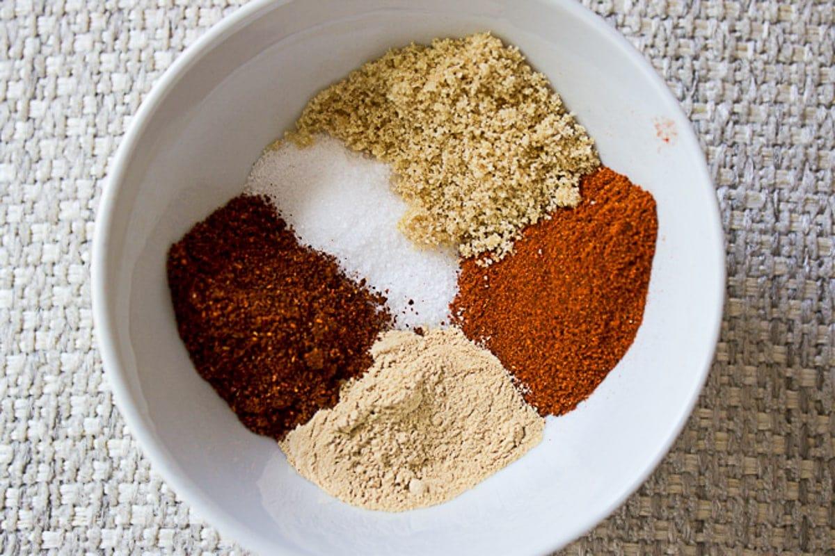 rib rub seasonings in bowl