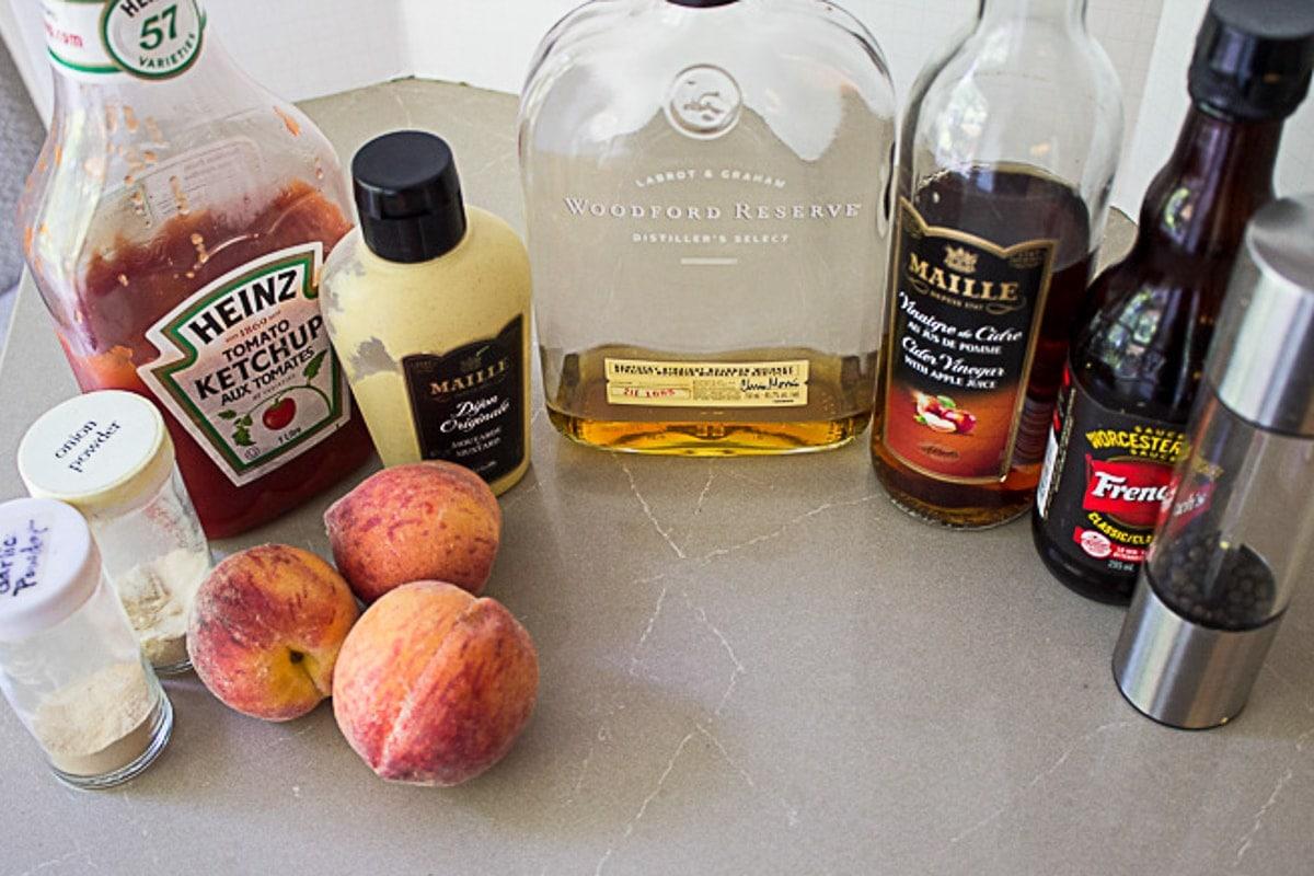 peaches, bourbon, ketchup, dijon, apple cider vinegar, worcestershire sauce