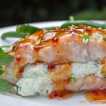 Salmon Stuffed With Lemon Ricotta on plate with green beans