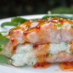 Salmon Stuffed With Lemon Ricotta drizzled with sweet chili sauce on plate with beans p4
