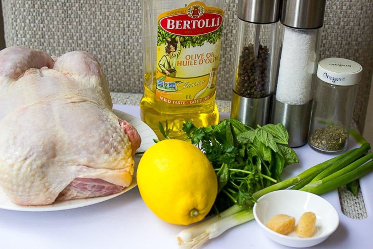 chicken, lemon, garlic, herbs, oil, green onions, salt, pepper