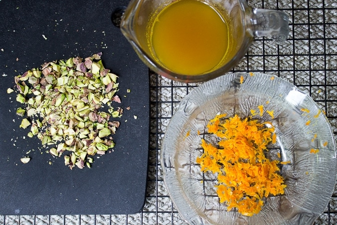 toppings - syrup, zest, chopped pistachios