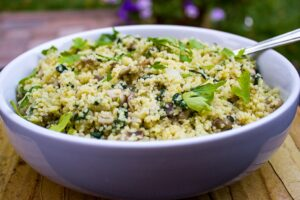 Spinach Mushroom Couscous in a bowl 1