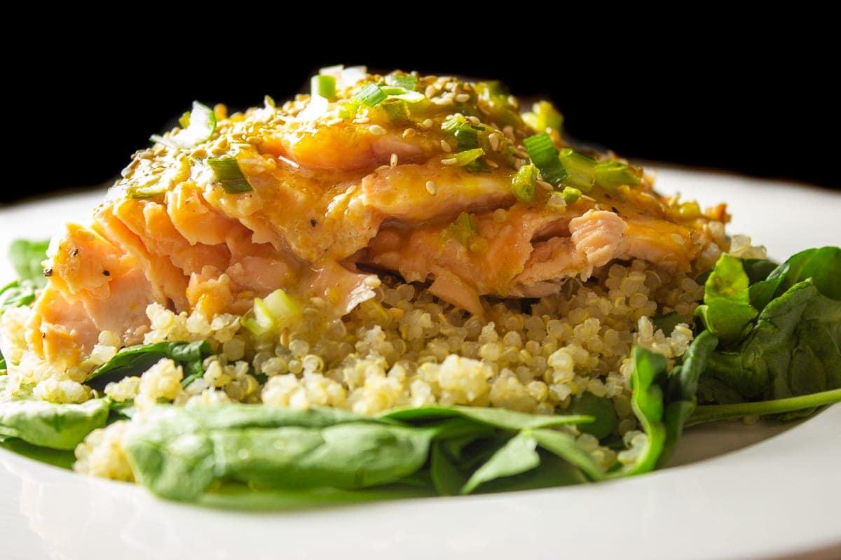 piece of glazed salmon on quinoa 1