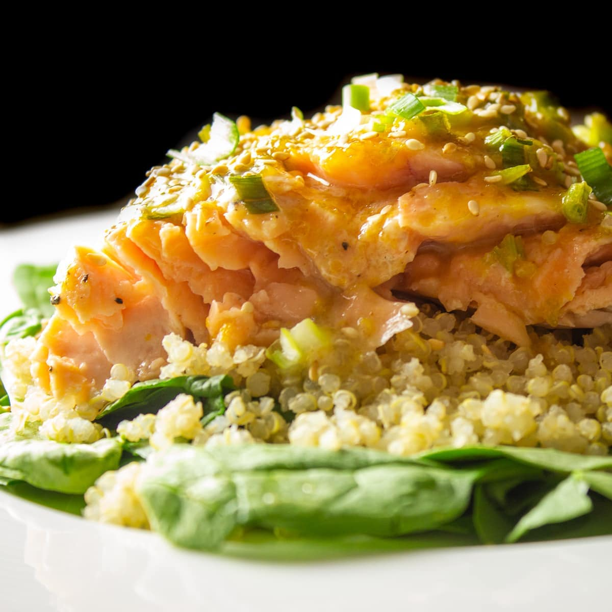 piece of glazed salmon on quinoa
