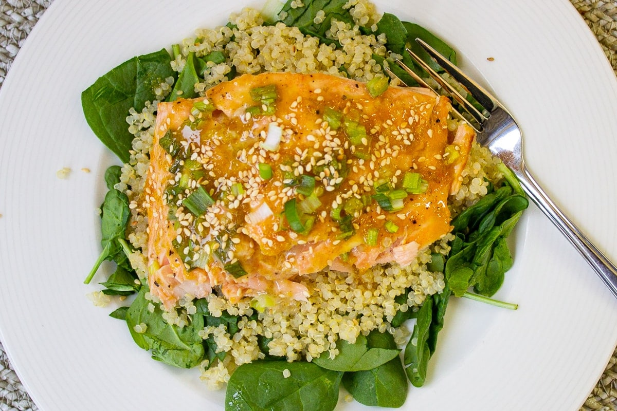 piece of glazed salmon on quinoa 2