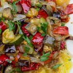 Spaghetti Squash With Roasted Vegetables on top on a platter p3