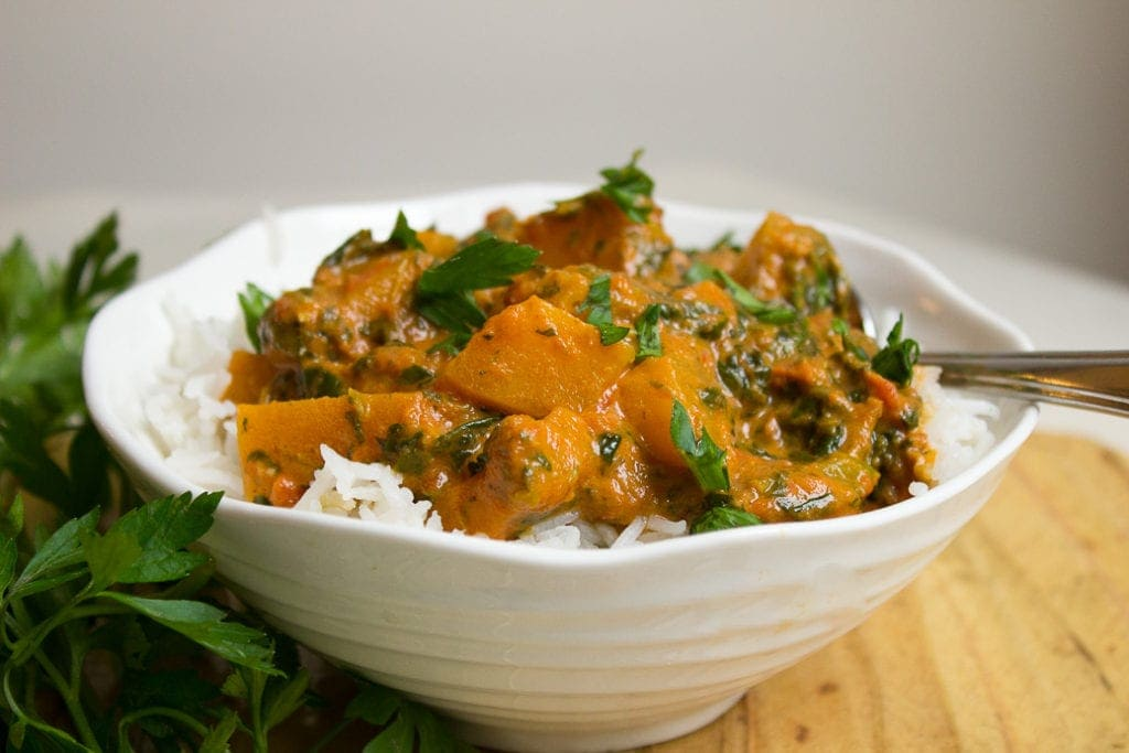 30-Minute Squash Tomato and Spinach Curry
