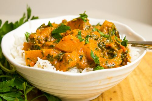 Squash Curry over rice in bowl ff
