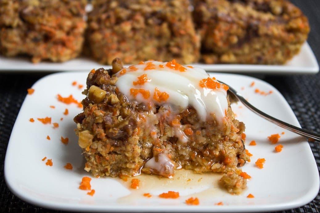 Baked Carrot Cake Oatmeal Breakfast Squares