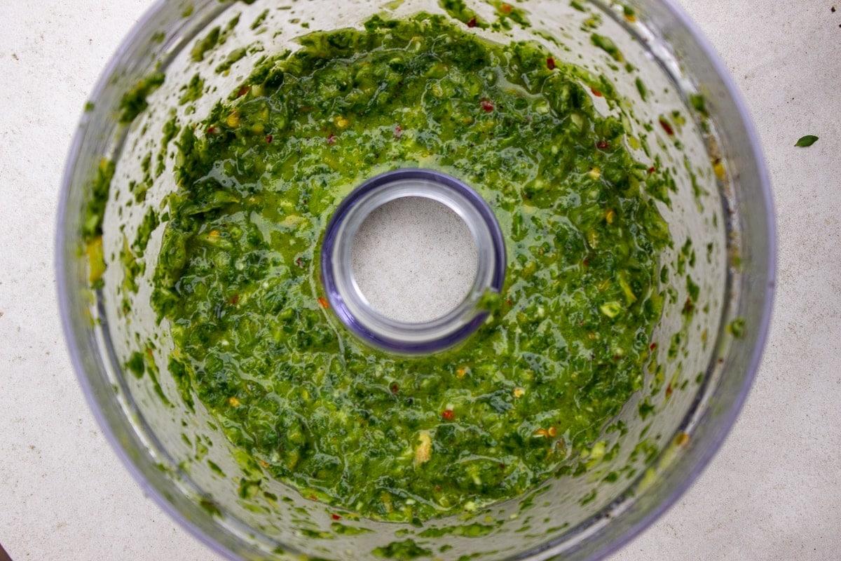 herb dressing in processor bowl