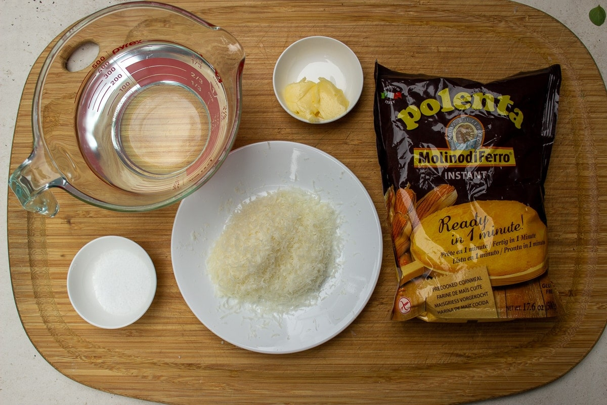 quick cooking polenta, water, grated Parmesan, butter, salt