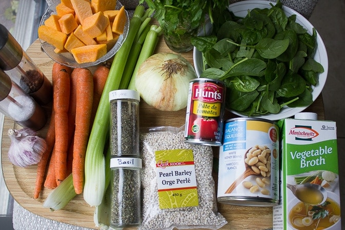 carrots celery onion squash tomato paste barley beans spinach seasonings