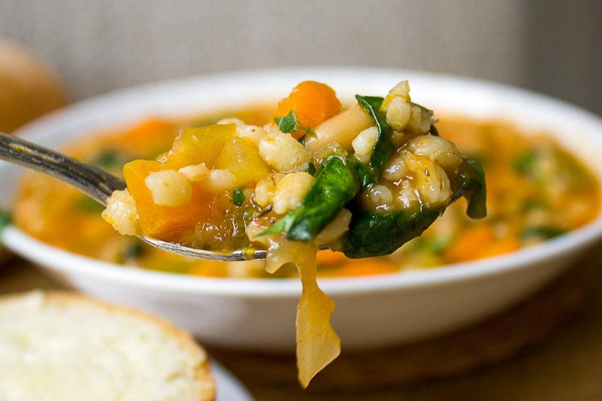 spoonful of vegetable barley soup