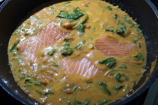 Tomato Coconut Curry Poached Salmon