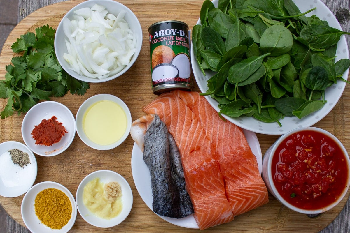 salmon, seasonings, curry, red curry paste, garlic, ginger, cilantro, oil, chopped onion, fresh baby spinach, coconut milk, diced tomatoes
