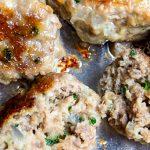all-purpose Italian meatballs baked on pan. one cut open p