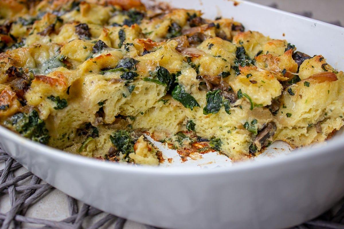 inside of breakfast strata in casserole dish