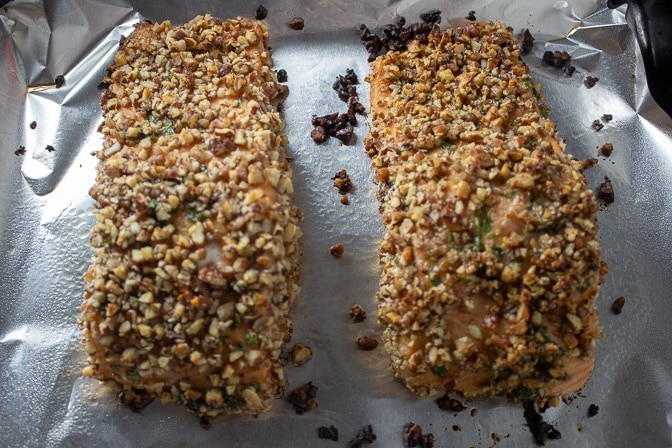 Maple Balsamic Pecan Crusted Salmon