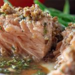 Pecan Crusted Salmon portion on plate with green beans