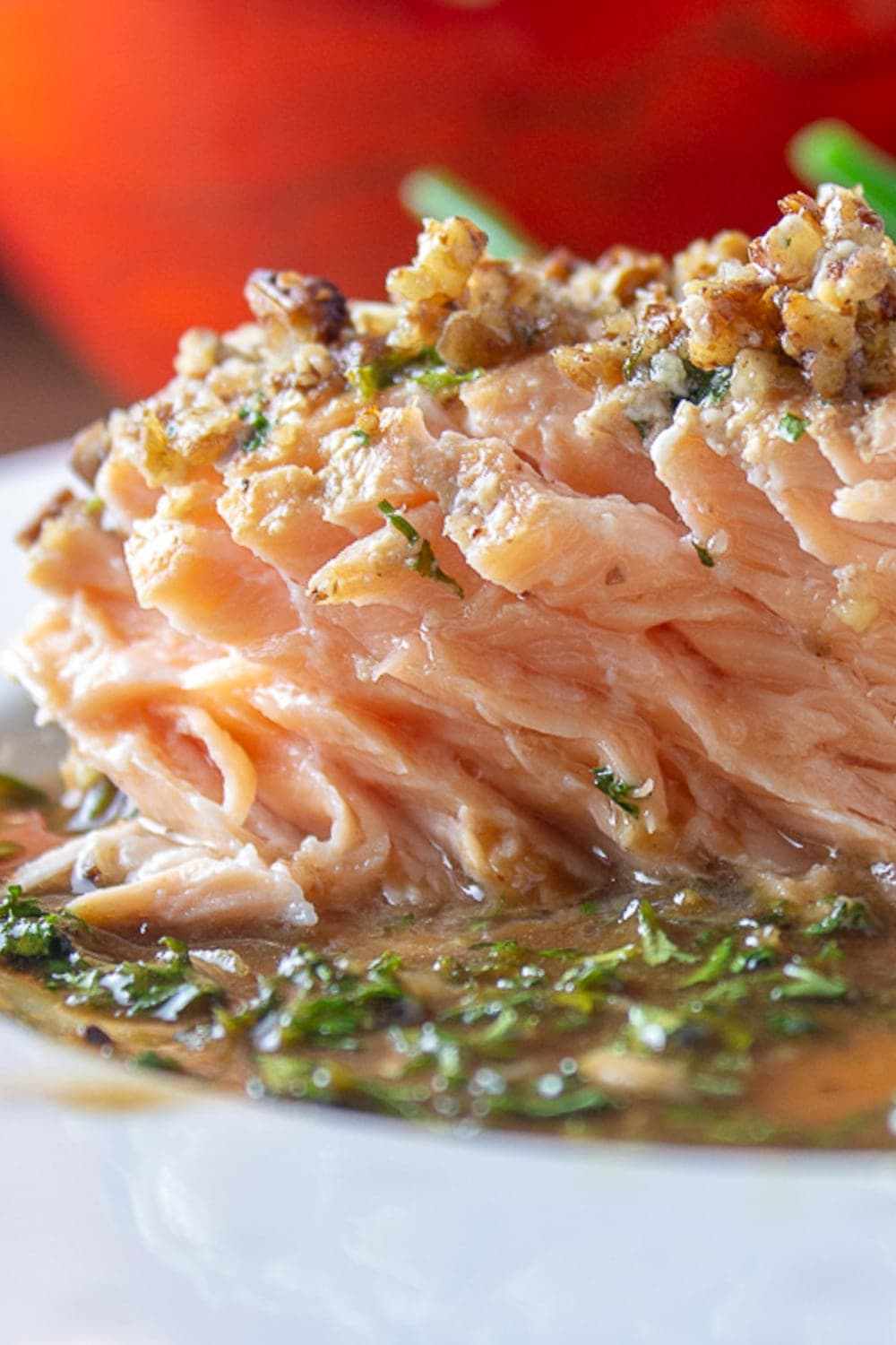 inside piece of pecan crusted salmon on plate p