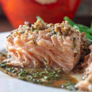 Maple Balsamic Pecan Crusted Salmon